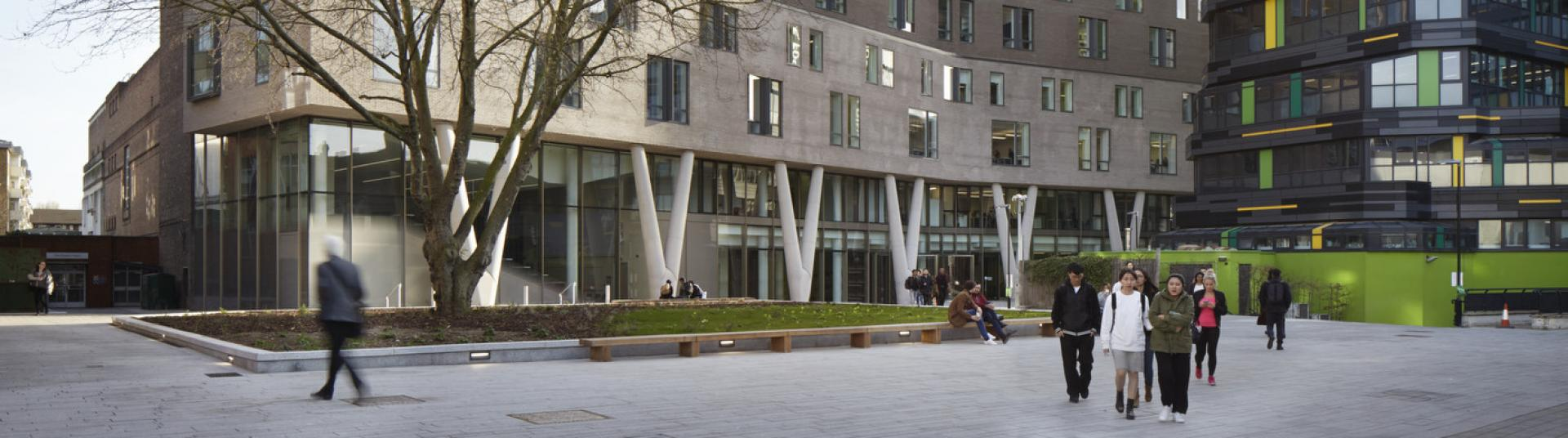 A picture of a large building, part of Queen Mary University of London's campus