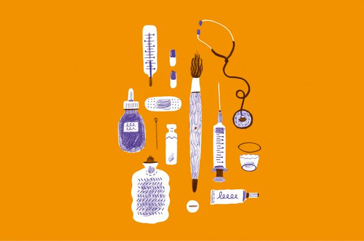 Illustration of medical equipment interspersed with artists equipment.