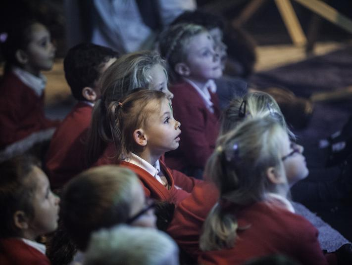 young audience members engaged in theatre