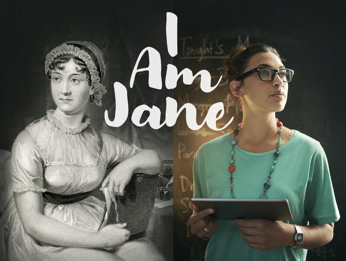 Image of Jane Austen and young women side by side with slogan 'I Am Jane' in the middle