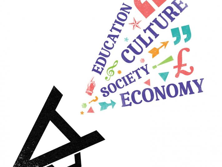 Advocacy Toolkit logo featuring the words 'Education', 'Culture', 'Society' and 'Economy' appearing from a megaphone.
