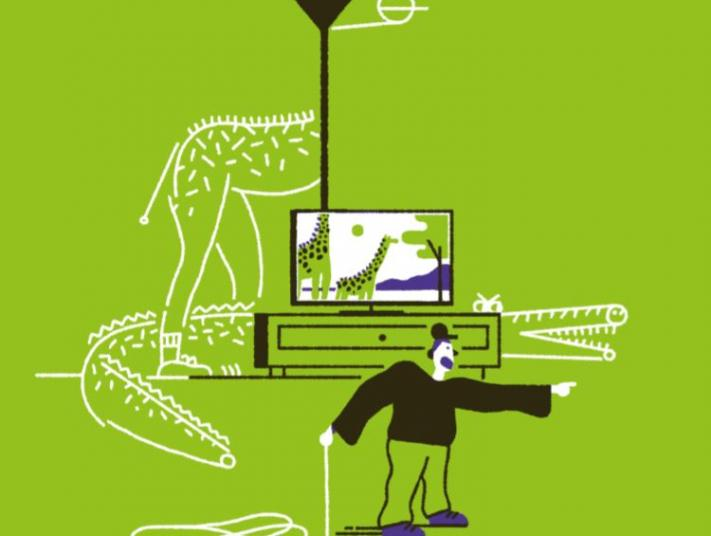Illustration: a child watching TV, with imaginary creatures emerging from behind furniture