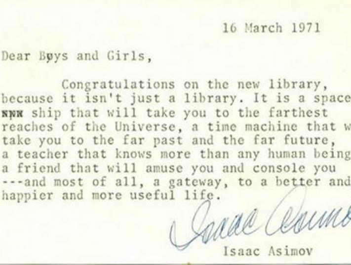 Isaac Asimov's letter to libraries