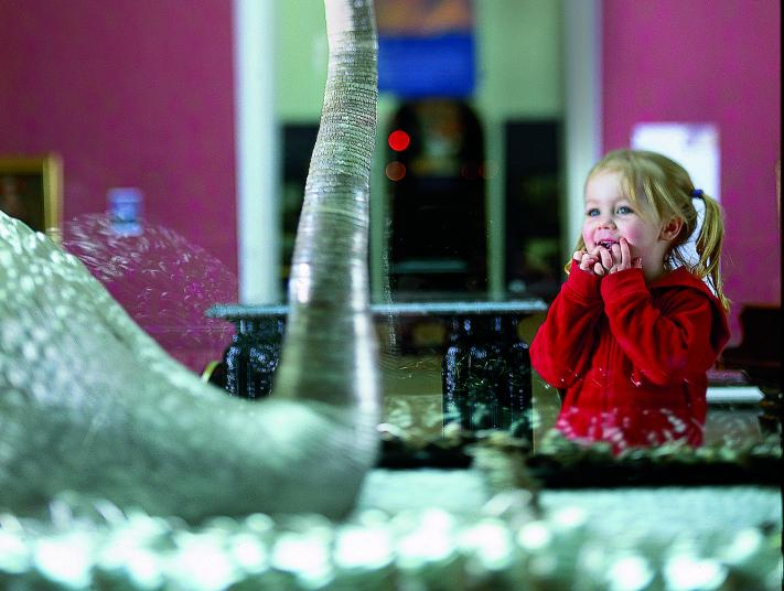 A young girl looks at a large silver swan in a museum.