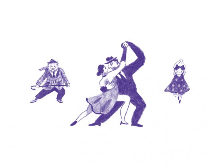 Create illustration of people dancing.