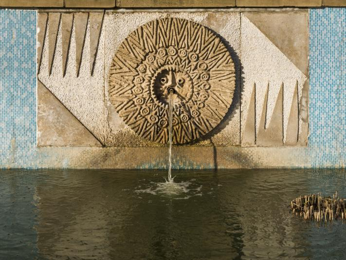 A mosaic water feature at the Grade II listed The Water Gardens, Harlow, Essex.