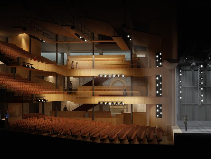 Image shows an architect's design for the new auditorium with seating and stage shown from the side