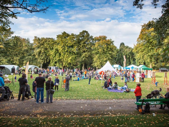 A crowd of people enjoy the activities at the Picnic at Longton Park in Stoke-on-Trent, 2013.