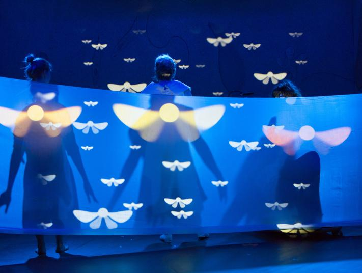 Three performers partially obscured behind a curtain, with butterfly shaped light projections on the fabric, and above their heads.