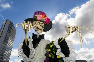A large Mexican Day of the Dead style skeleton puppet.