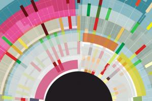 lots of bright colours spiral out from a black semi circle to represent knowledge
