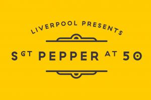 Yellow background with black text that says Liverpool presents Sgt. Pepper at 50