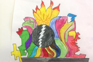 A coloured pencil drawing of different coloured flames erupting from a dark sphere.