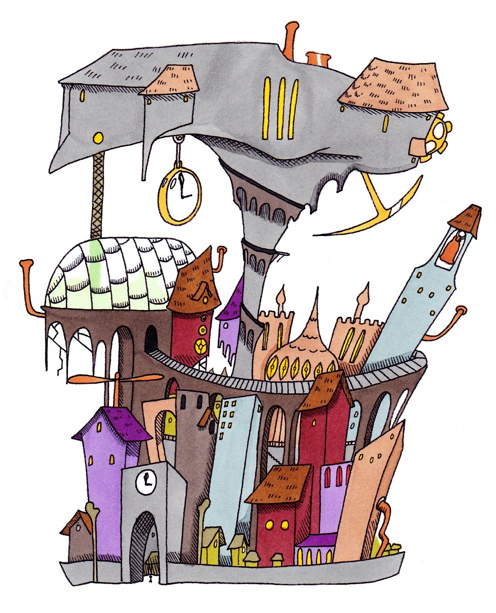 A graphic image of Paragon City from the Curing Perfect game. The cartoon image depicts a higgledy-piggledy city. with a large stop watch hanging from a building, a railway line that appears from behind the building on the right and stretches around the front before disappearing into a tunnel.