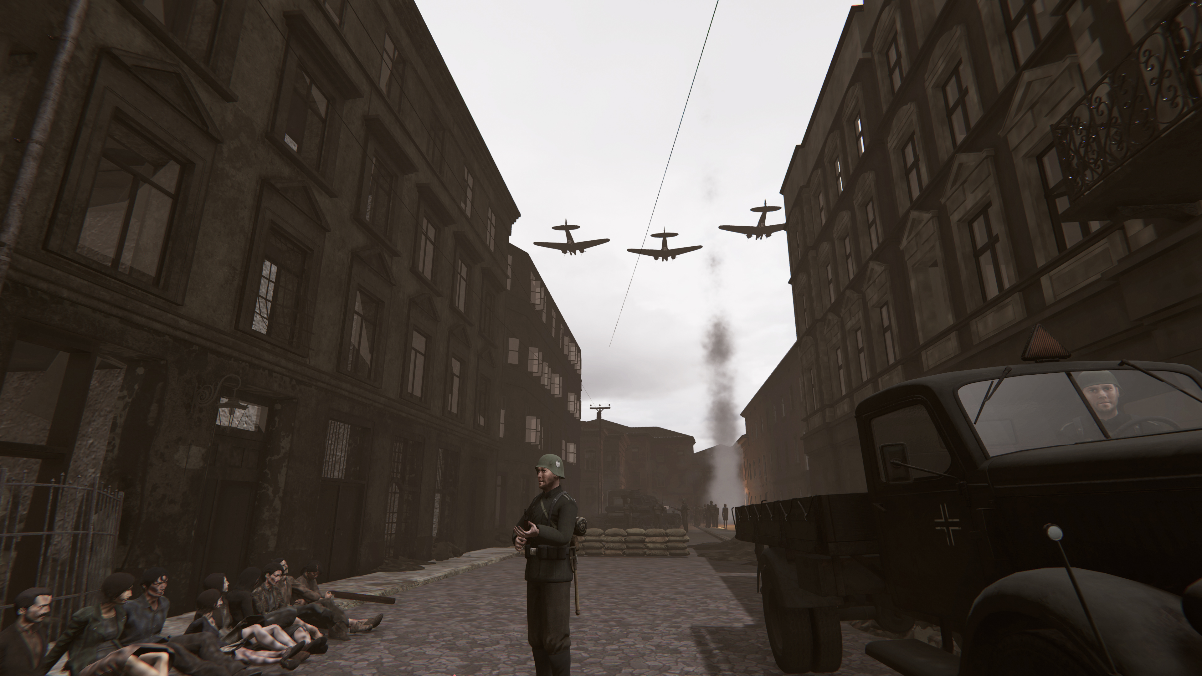 A VR image of a soldier standing in the street, with planes flying overhead.