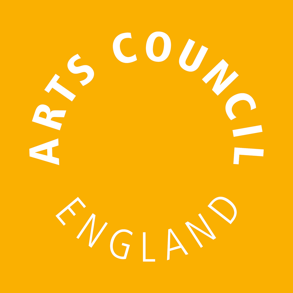 Arts Council England logo in white, on a yellow background.