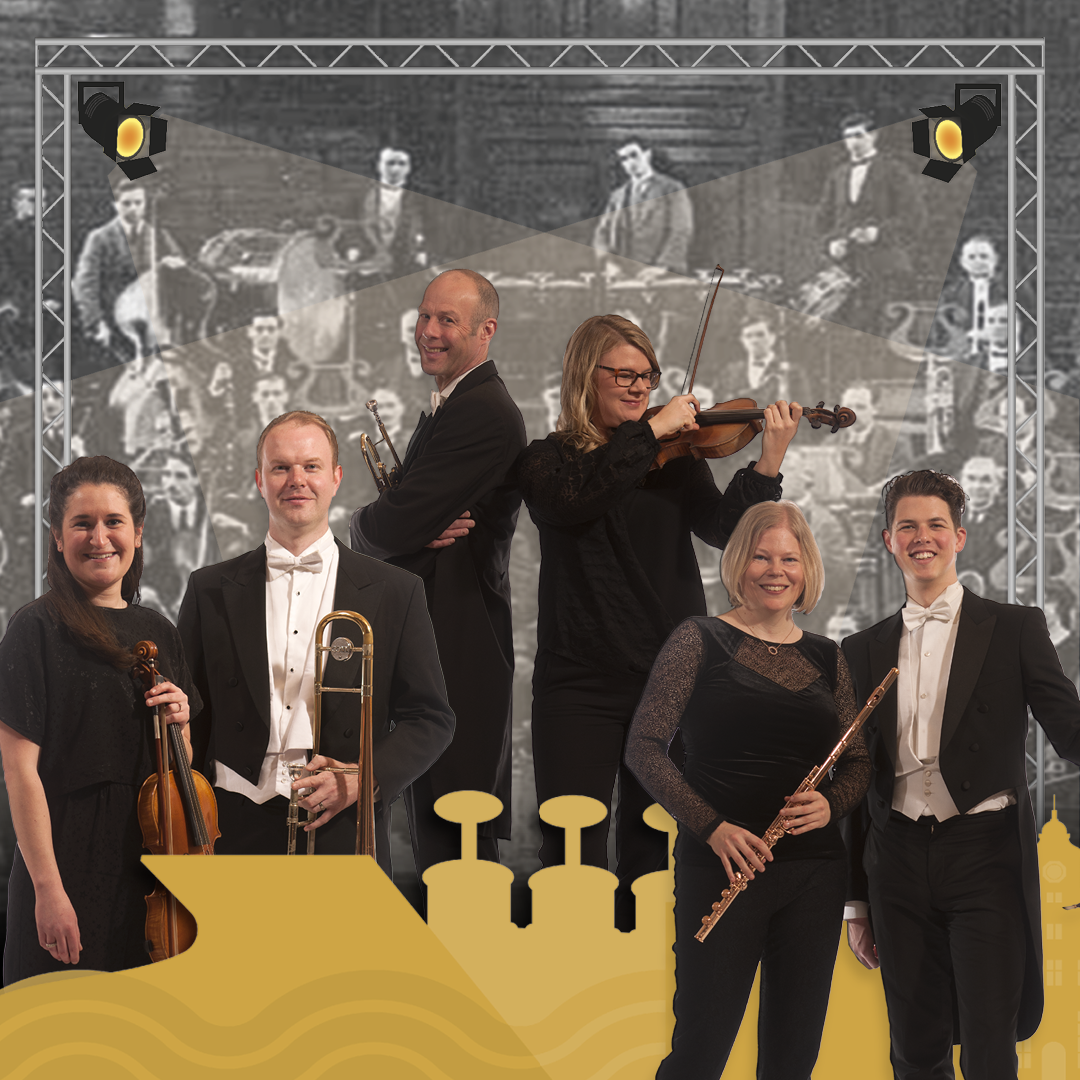 A group of conductors and musicians dressed in black and white, smiling