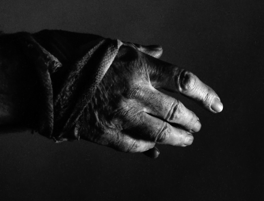 A black and white image of a rough-skinned hand.