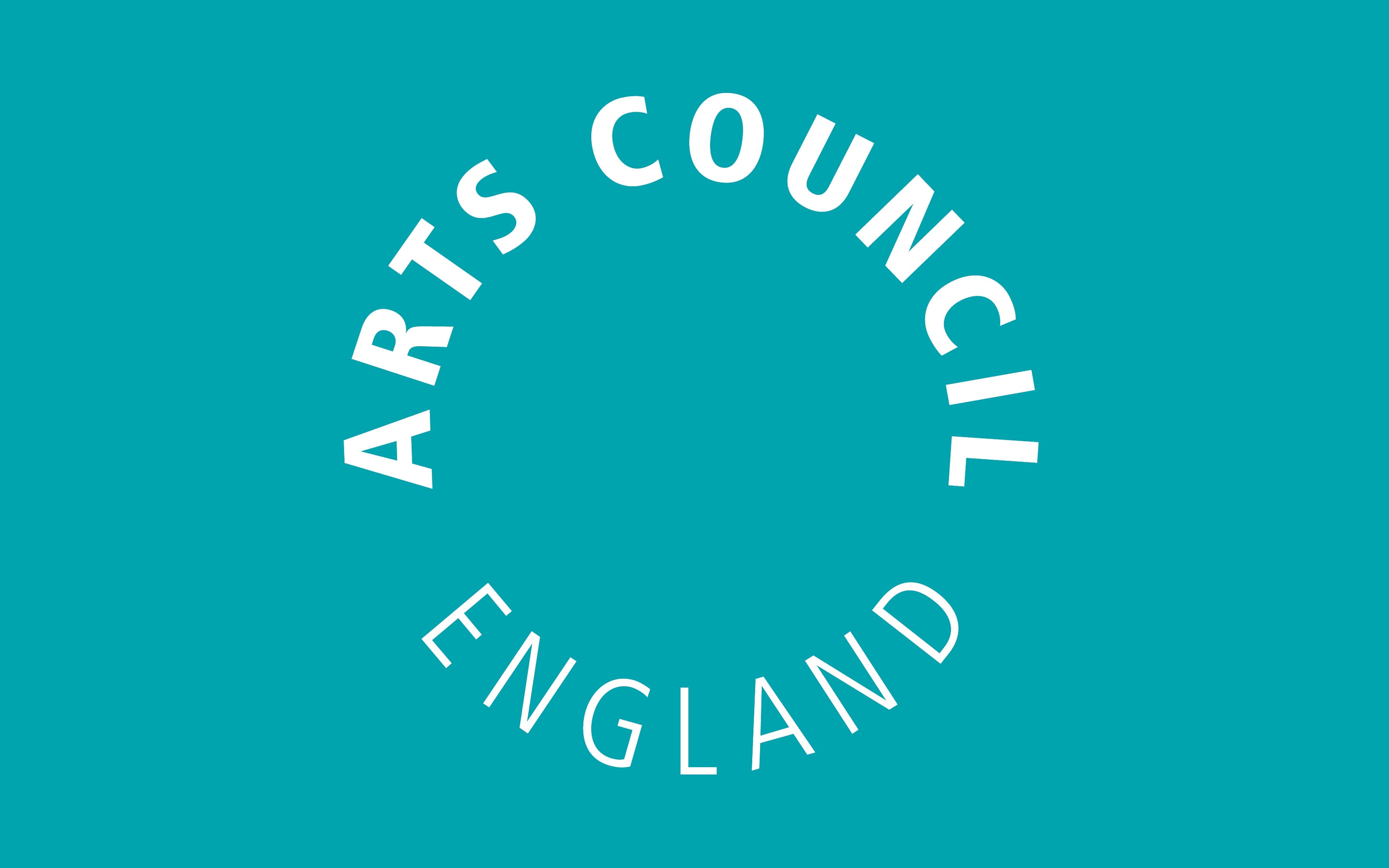 Arts Council England logo in white, on a turquoise background.
