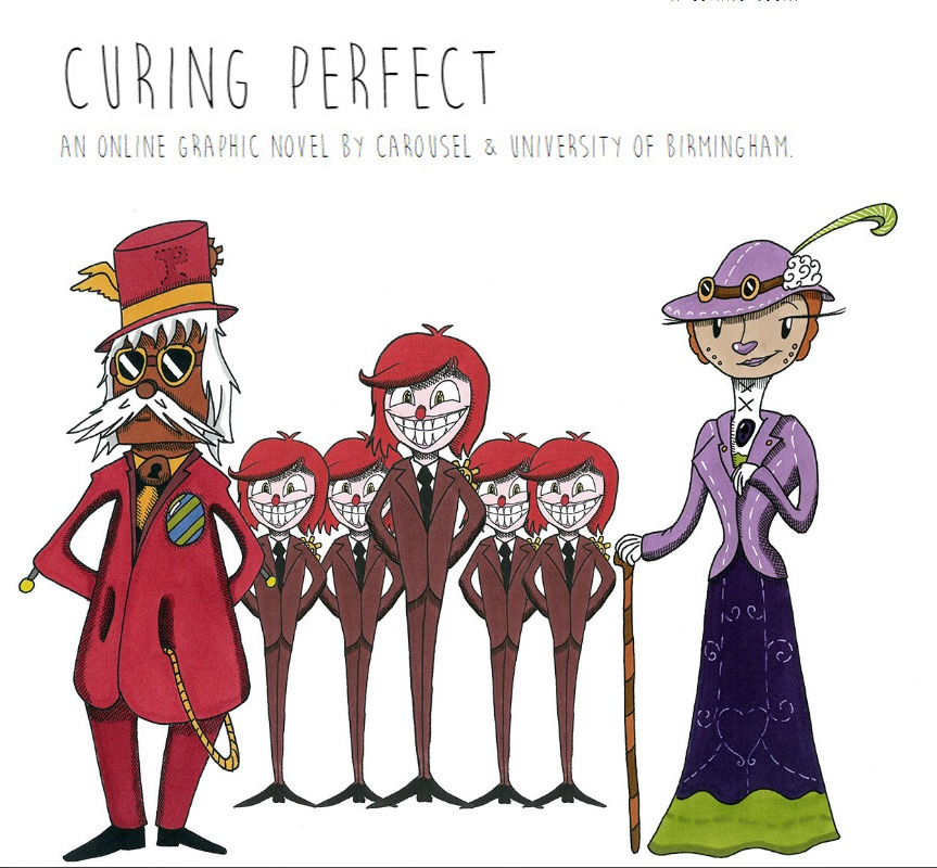 Characters from the Curing Perfect graphic novel. One has a perfect smile, another is wearing sunglasses, a top hat and a pocket watch. The other is a lady with a cane.