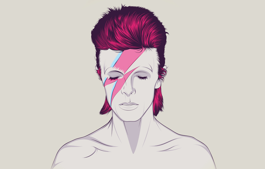 Illustration of David Bowie with pink hair and multi-coloured lightning strike across his face.