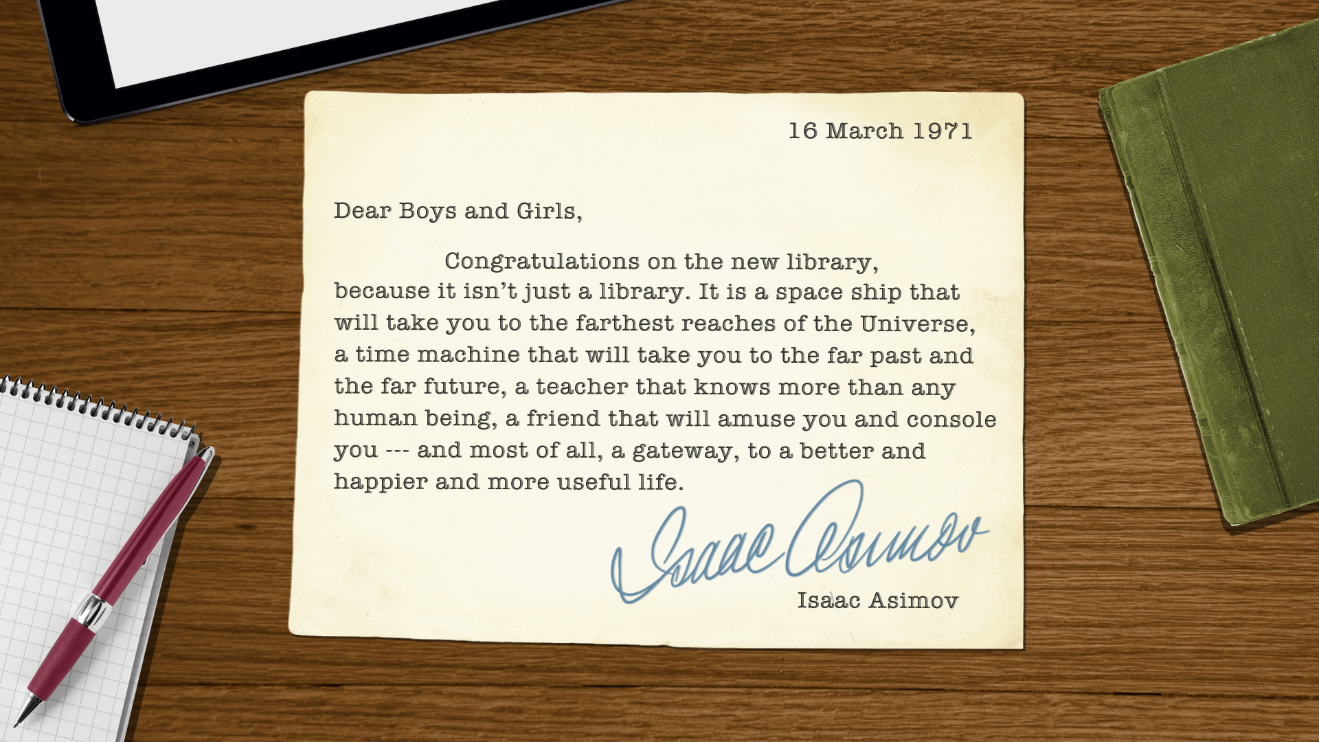 A letter from Isaac Asimov.