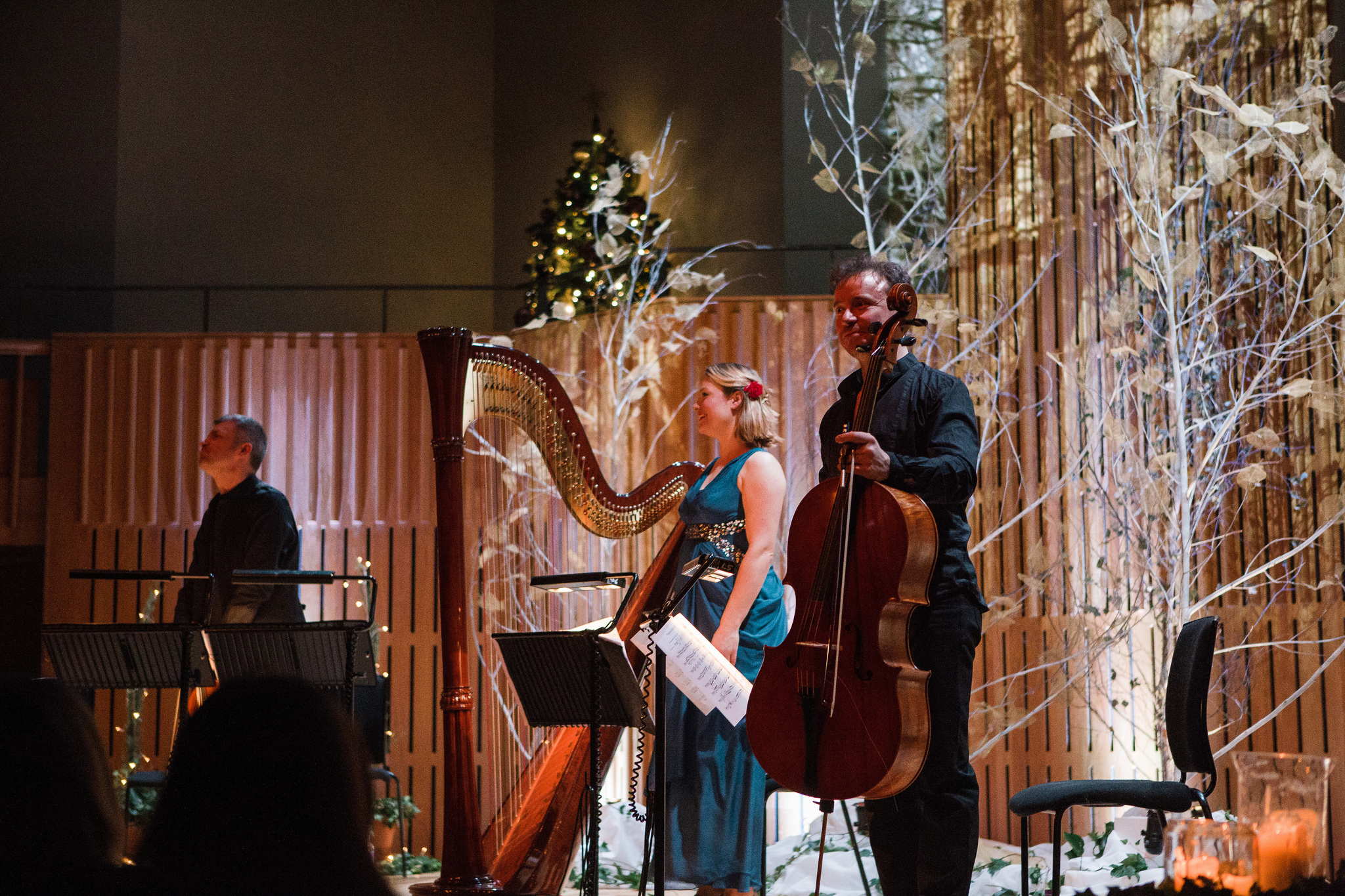 Cello player, Harp player and percussionist smile at audience from the stage at Opera North.