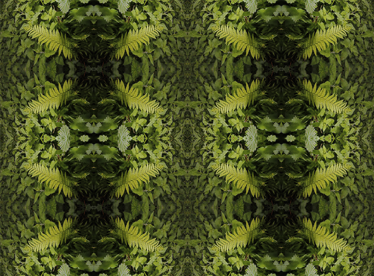 Image of digital print of green leaves in symmetrical patterns