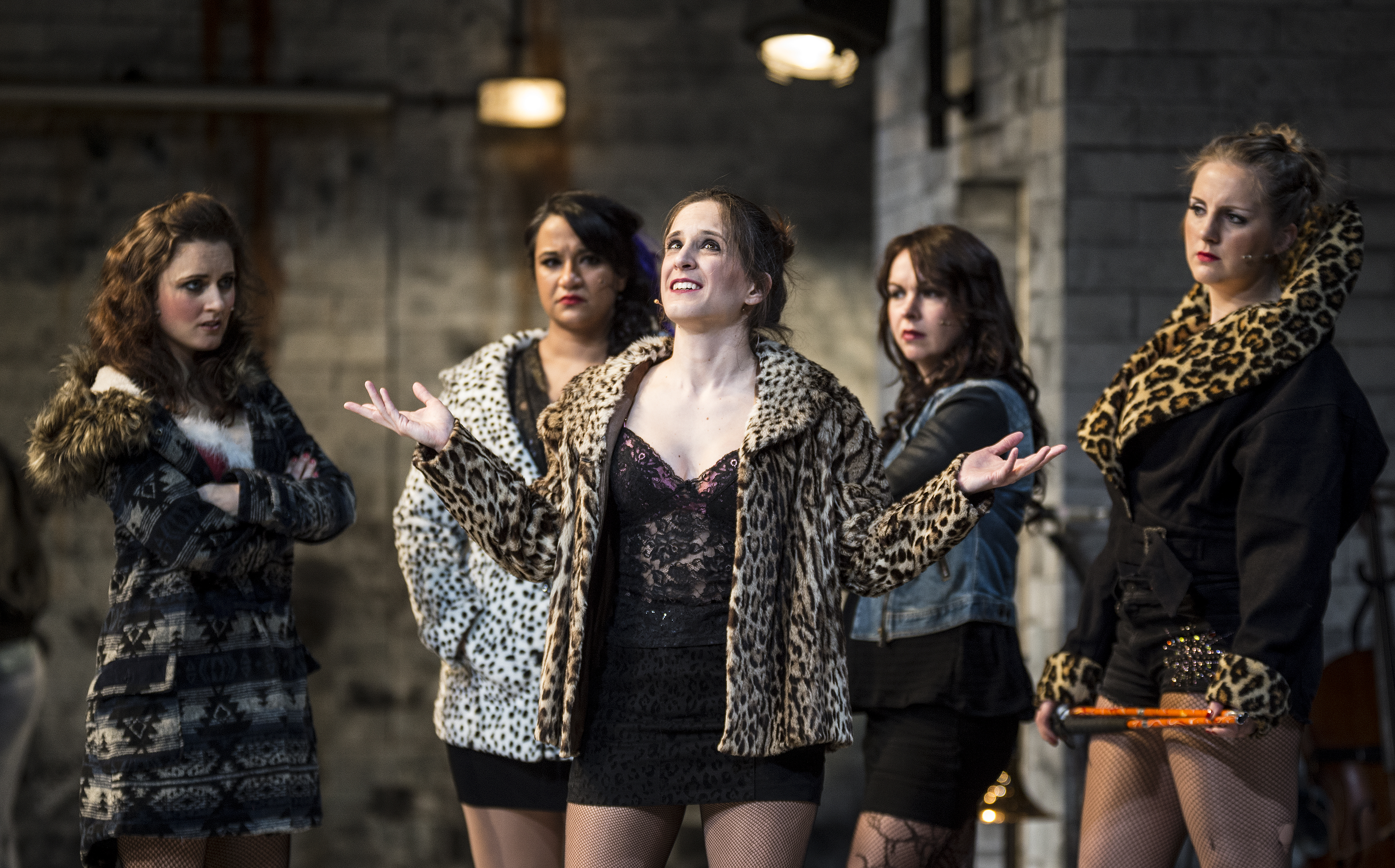 Barbara Hockaday, Natasha Lewis, Amelia Cavallo, Jude Mahon and Stacey Ghent in The Threepenny Opera: a Graeae Theatre Company co production with Nottingham Playhouse and the Wolsey Theatre, Ipswich. Photo © Patrick Baldwin.